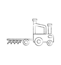 Tractor farm with rake vector