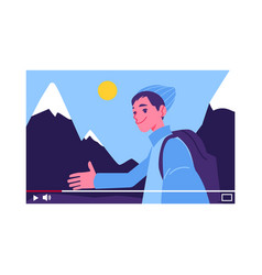 Travel blogger man nordic country mountain vector