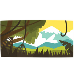tropical jungle and mountain background tropical vector image