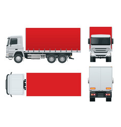 Truck delivery lorry mock-up isolated template vector
