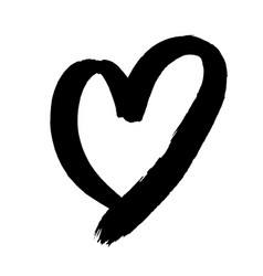 valentine heart isolated hand drawn icon vector image