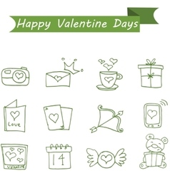 Various icon valentine collection stock vector image