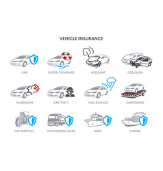 Vehicle insurance icons vector