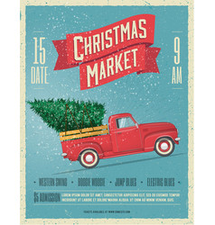 vintage styled christmas market poster vector image