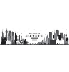 welcome to europe skyline silhouette with black vector image