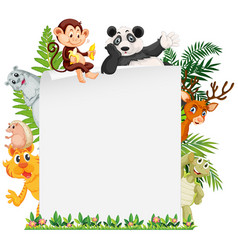Wild animal border template vector