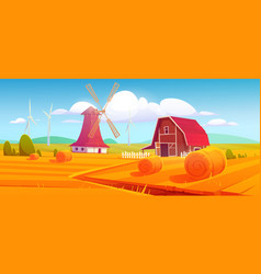 windmill and barn on farm nature rural background vector image