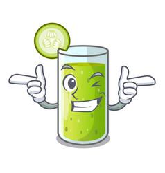 Wink cucumber juice in a cartoon glass vector