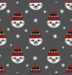 winter pattern with sloth vector image