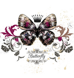 With detailed butterfly in vintage style vector
