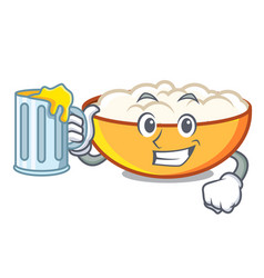 With juice cottage cheese mascot cartoon vector