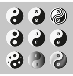 Yin Yang Symbol Of Balance And Harmony Set vector image