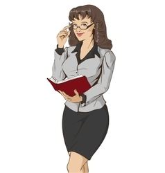 Young beautiful woman teacher holding open book vector