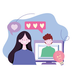 young couple romantic video call computer screen vector image