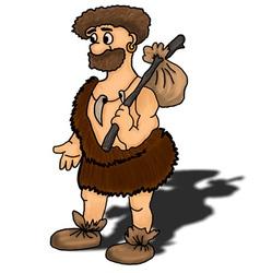 Ancient man happy humour hunter vector image