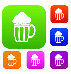 Beer set collection vector