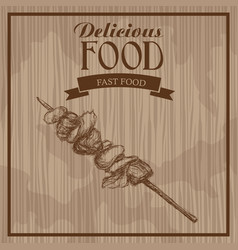 delicious food kebab meat hand drawn poster vector image