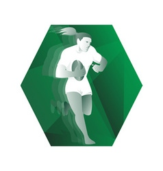 female rugby player running with ball retro vector image