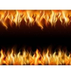 Fire Tileable Borders Set vector image vector image