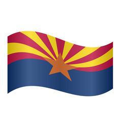 flag of arizona waving on white background vector image