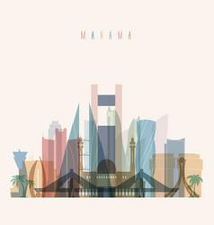manama skyline detailed silhouette vector image