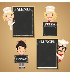 Chefs Cartoon Characters with Chalkboard Menu vector image vector image