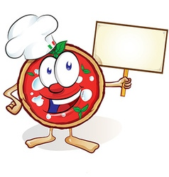 fun pizza cartoon with signboard vector image