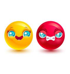 funny and angry emoji vector image