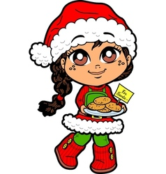 Girl With Cookies For Santa vector image vector image
