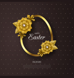 Happy easter background with golden frame and vector