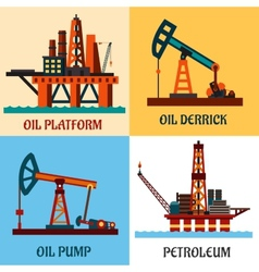 Petroleum production and oil derrick flat icons vector image vector image