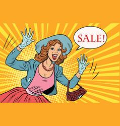 retro lady enjoys the sale vector image