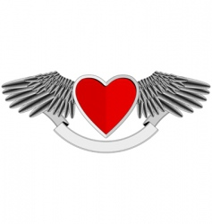 winged heart logo vector image vector image