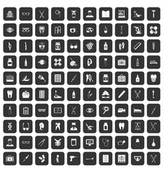 100 medical accessories icons set black vector