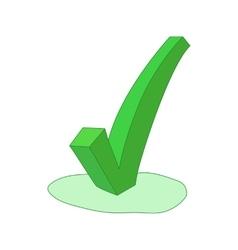 Green check mark icon cartoon style vector image vector image