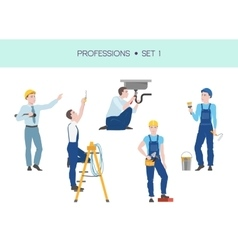 Group of workers set vector image vector image