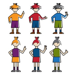 guys and girls showing hand gestures vector image vector image