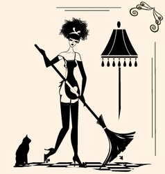 housewife and a broom vector image