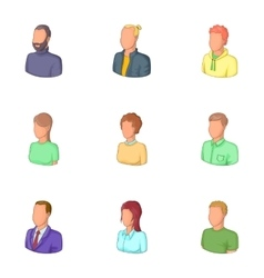 Office workers avatars icons set cartoon style vector image vector image