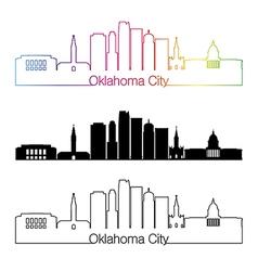 Oklahoma city skyline linear style with rainbow vector