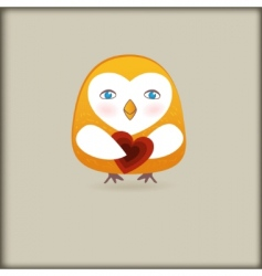 cute romance bird with heart vector image vector image