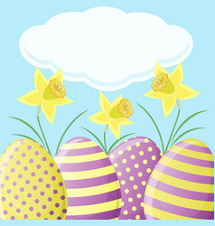 Easter card with daffodils and eggs vector