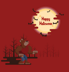 halloween werewolf howling under the moon vector image