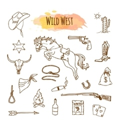 Hand drawn wild west vector image