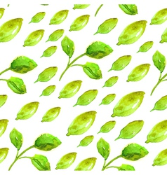Watercolor seamless pattern with green leaf vector image vector image