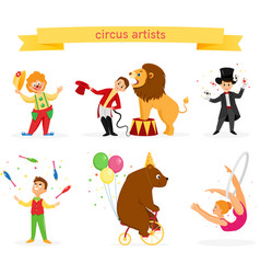 a set of circus artists vector image