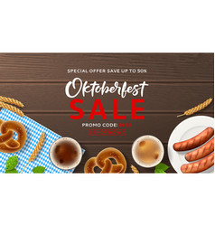 Advertisement web banner for oktoberfest sale vector