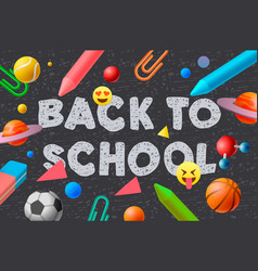 back to school template social media education vector image