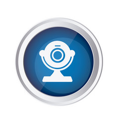 Blue emblem computer camera icon vector