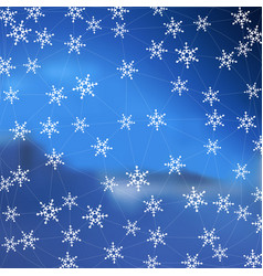 blue winter stylish background with snowflakes vector image